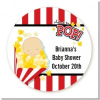 About To Pop - Round Personalized Baby Shower Sticker Labels