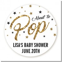 About To Pop Glitter - Round Personalized Baby Shower Sticker Labels