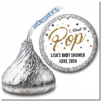 About To Pop Glitter - Hershey Kiss Baby Shower Sticker Labels