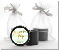 About To Pop Gold - Baby Shower Black Candle Tin Favors