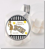 About To Pop Gold Glitter - Personalized Baby Shower Candy Jar