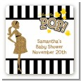 About To Pop Gold Glitter - Square Personalized Baby Shower Sticker Labels thumbnail