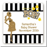 About To Pop Gold Glitter - Square Personalized Baby Shower Sticker Labels