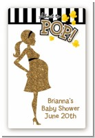 About To Pop Gold Glitter - Custom Large Rectangle Baby Shower Sticker/Labels