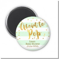 About To Pop Gold - Personalized Baby Shower Magnet Favors