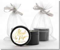 About To Pop Metallic - Baby Shower Black Candle Tin Favors