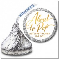 About To Pop Metallic - Hershey Kiss Baby Shower Sticker Labels