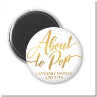 About To Pop Metallic - Personalized Baby Shower Magnet Favors