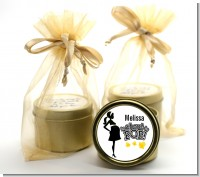 About to Pop Mommy Black - Baby Shower Gold Tin Candle Favors