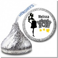 About to Pop Mommy Black - Hershey Kiss Baby Shower Sticker Labels