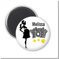 About to Pop Mommy Black - Personalized Baby Shower Magnet Favors