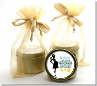 About To Pop Mommy - Baby Shower Gold Tin Candle Favors