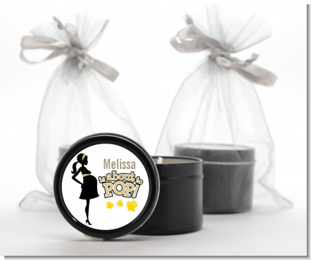 About To Pop Mommy Gold - Baby Shower Black Candle Tin Favors