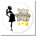 About To Pop Mommy Gold - Round Personalized Baby Shower Sticker Labels thumbnail