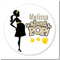 About To Pop Mommy Gold - Round Personalized Baby Shower Sticker Labels