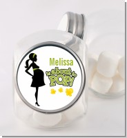 About To Pop Mommy Green - Personalized Baby Shower Candy Jar