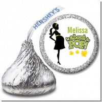 About To Pop Mommy Green - Hershey Kiss Baby Shower Sticker Labels
