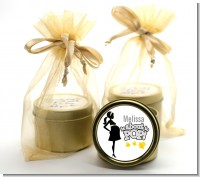 About To Pop Mommy Grey - Baby Shower Gold Tin Candle Favors