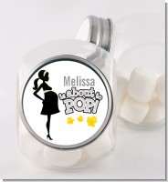 About To Pop Mommy Grey - Personalized Baby Shower Candy Jar