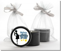 About To Pop Mommy Navy Blue - Baby Shower Black Candle Tin Favors