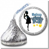 About To Pop Mommy Navy Blue - Hershey Kiss Baby Shower Sticker Labels