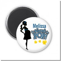 About To Pop Mommy Navy Blue - Personalized Baby Shower Magnet Favors