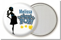 About To Pop Mommy Navy Blue - Personalized Baby Shower Pocket Mirror Favors