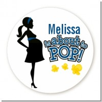 About To Pop Mommy Navy Blue - Round Personalized Baby Shower Sticker Labels