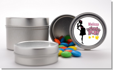 About to Pop Mommy Pink - Custom Baby Shower Favor Tins