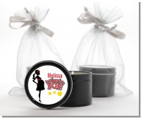 About To Pop Mommy Red - Baby Shower Black Candle Tin Favors