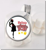 About To Pop Mommy Red - Personalized Baby Shower Candy Jar