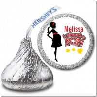 About To Pop Mommy Red - Hershey Kiss Baby Shower Sticker Labels