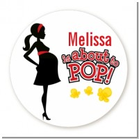 About To Pop Mommy Red - Round Personalized Baby Shower Sticker Labels