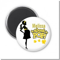 About to Pop Mommy Yellow - Personalized Baby Shower Magnet Favors