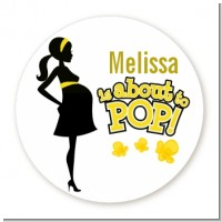 About to Pop Mommy Yellow - Round Personalized Baby Shower Sticker Labels
