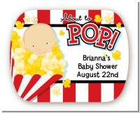 About To Pop - Personalized Baby Shower Rounded Corner Stickers