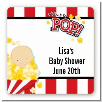 About To Pop - Square Personalized Baby Shower Sticker Labels