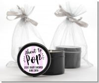 About To Pop Stripes - Baby Shower Black Candle Tin Favors