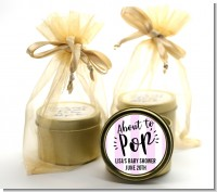 About To Pop Stripes - Baby Shower Gold Tin Candle Favors