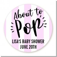 About To Pop Stripes - Round Personalized Baby Shower Sticker Labels