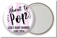 About To Pop Stripes - Personalized Baby Shower Pocket Mirror Favors
