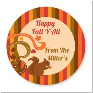 Acorn Harvest Fall Theme - Round Personalized Halloween Sticker Labels