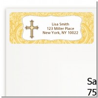 Cross Yellow & Brown - Baptism / Christening Return Address Labels