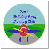 Airplane - Round Personalized Birthday Party Sticker Labels
