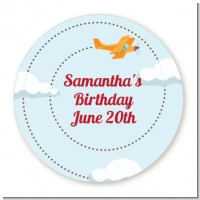 Airplane in the Clouds - Round Personalized Baby Shower Sticker Labels