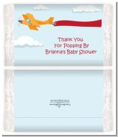 Airplane in the Clouds - Personalized Popcorn Wrapper Baby Shower Favors