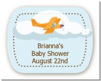Airplane in the Clouds - Personalized Baby Shower Rounded Corner Stickers