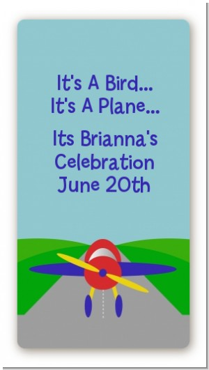 Airplane - Custom Rectangle Baby Shower Sticker/Labels