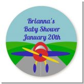 Airplane - Round Personalized Baby Shower Sticker Labels