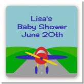 Airplane - Square Personalized Baby Shower Sticker Labels